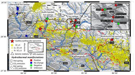 Carte des émissions de dioxyde de carbone et des sources chaudes au Népal Central affectées par le séisme de Gorkha d'avril 2015